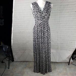 Cable & Guage long black & white dress L